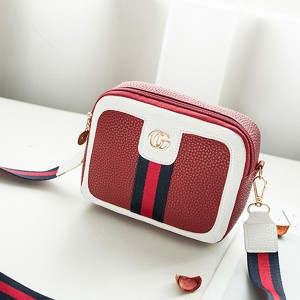 Belt Strap Contrast PU Leather Messenger Bags - Red