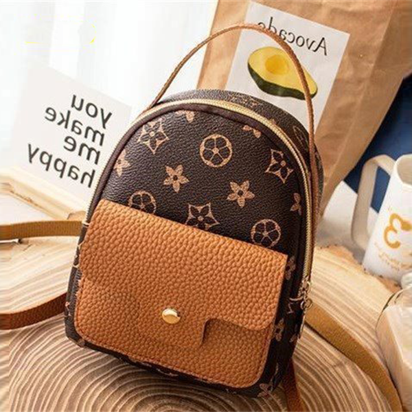 Zipper Closure Round Shape Mini Backpacks - Brown