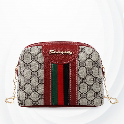 Fine Stitched Chain Zipper Messenger Bags - Red