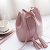 Tassel Drawstring PU Leather Pouch Bags - Pink