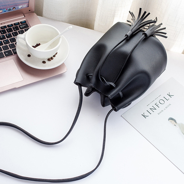 Tassel Drawstring PU Leather Pouch Bags - Black