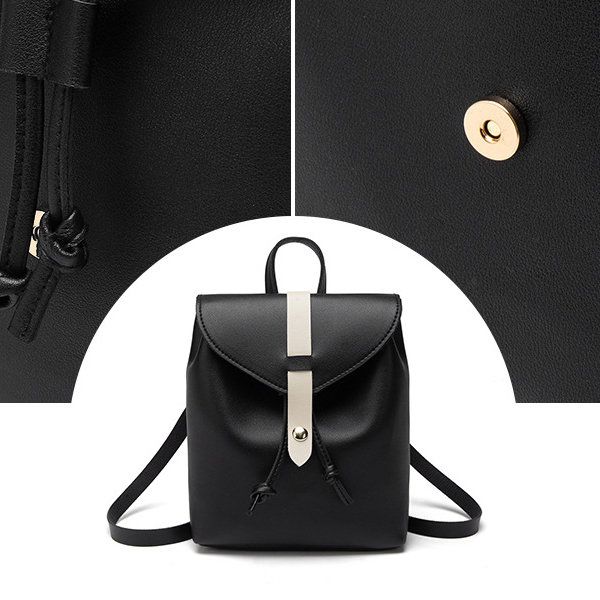 Dual Style Magnetic Lock Strapped Shoulder Bags - Black