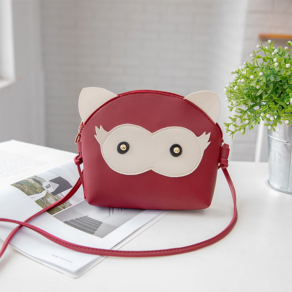 Cartoon Synthetic Leather String Messenger Bags - Red