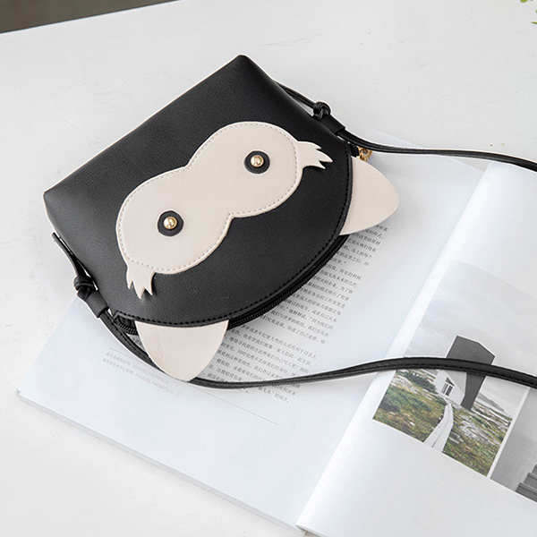 Cartoon Synthetic Leather String Messenger Bags - Black