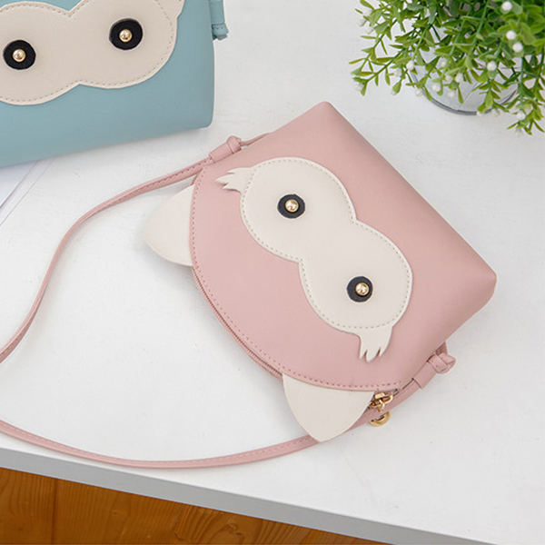 Cartoon Synthetic Leather String Messenger Bags - Pink