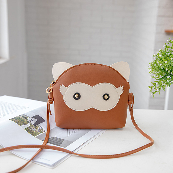 Cartoon Synthetic Leather String Messenger Bags - Brown