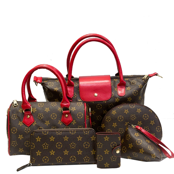 6 Pieces Retro Large Shoulder Messenger Tote Handbags Bundle Red