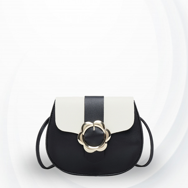 Floral Buckle Round Contrast Shoulder Bag - Black