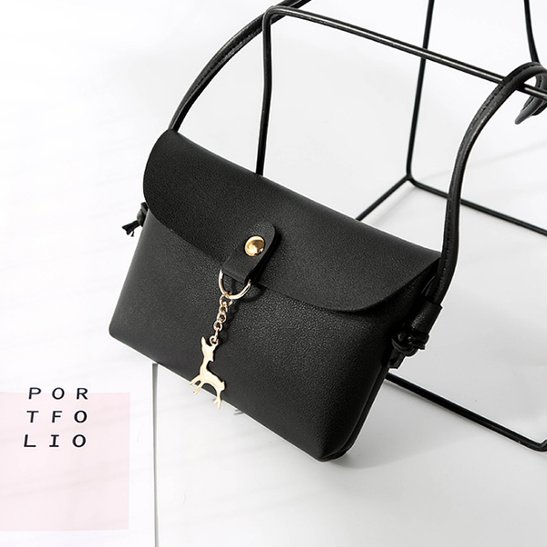 Deer Hanging Mini Shoulder Bag - Black