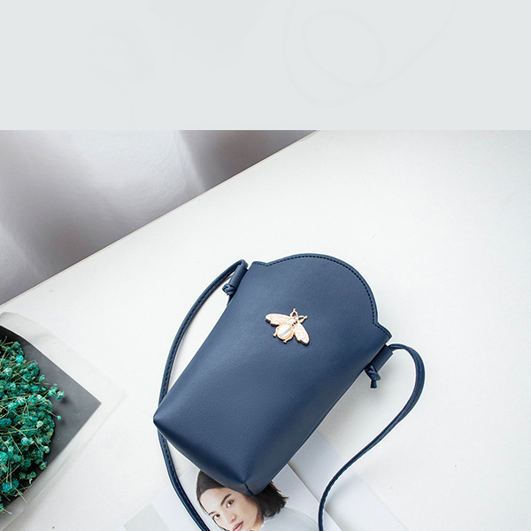Cone Shaped Bee Pearl Shoulder Bag - Blue