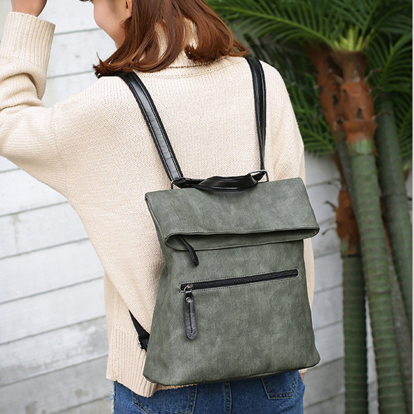 Latest Two Pieces PU Leather Green Backpack For Women