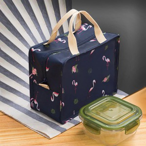 Flamingo Prints Zipper Closure Lunch Bags - Dark Blue