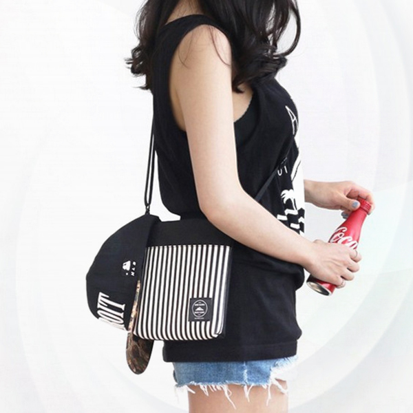 Striped Contrast Casual Cross Body Shoulder Bags - Black