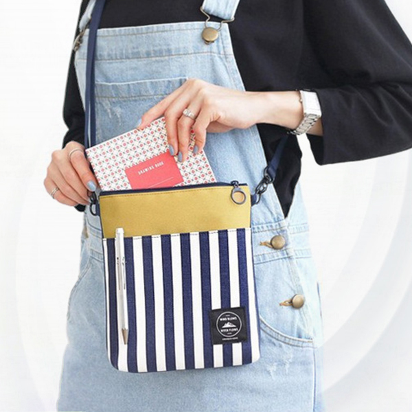 Striped Contrast Casual Cross Body Shoulder Bags - Blue White