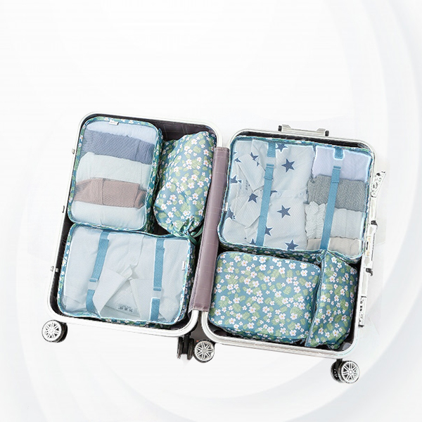 Floral Printed Six Pieces Suitcase Organizer Pouch Bags