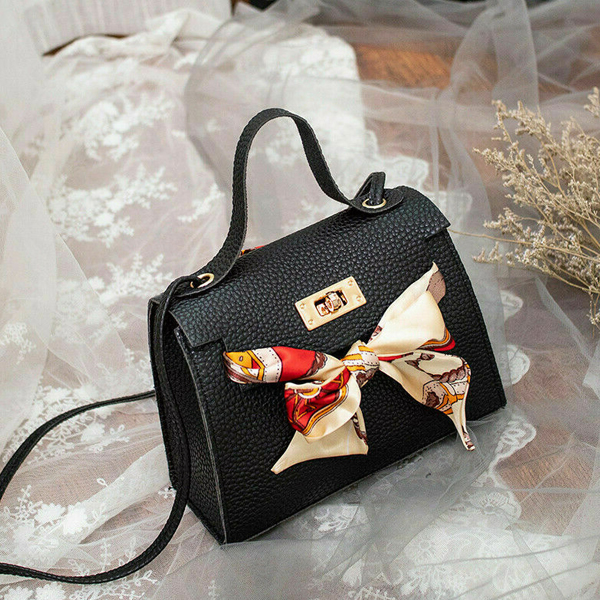 Ribbon Bow Printed Synthetic Leather Bags - Black