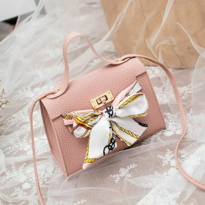 Ribbon Bow Printed Synthetic Leather Bags - Pink