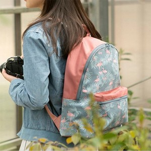 Flamingo Prints Contrast Casual Backpacks - Green