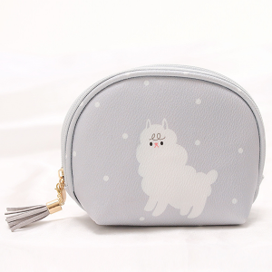 Cartoon Prints Tassel Mini Cosmetic Bags - Grey