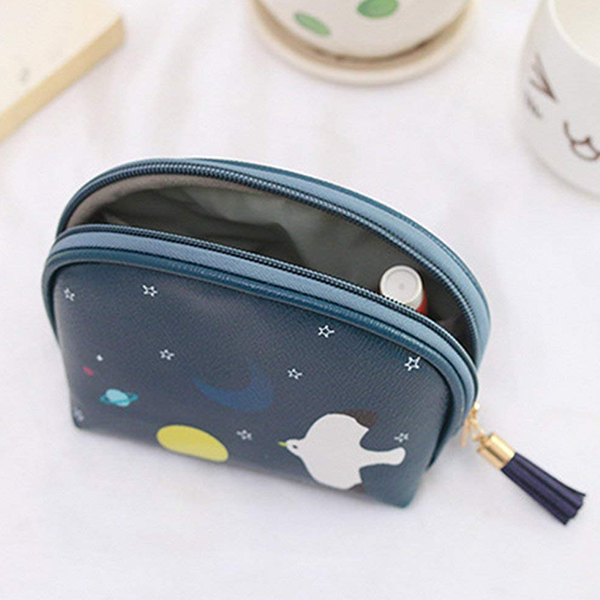 Cartoon Prints Tassel Mini Cosmetic Bags - Blue