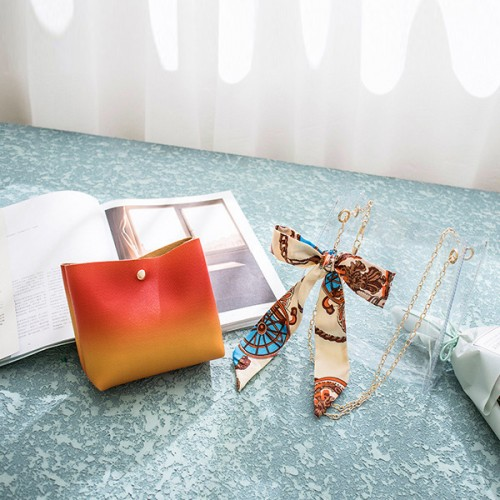 Bow Ribbon Chain Strapped Gradient Jelly Bags - Orange