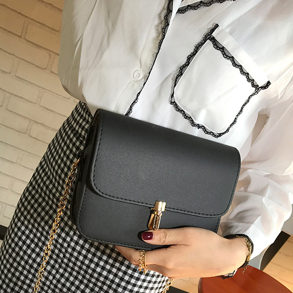 Chain Strapped Square Shoulder Bags - Black
