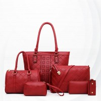 Zipper Soft Surface Ladies Six Piece Women Bag Set - Red