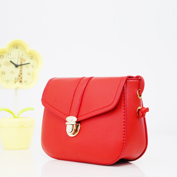 Press Lock PU Leather String Messenger Bags - Red