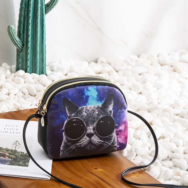 Digital Cat Prints Round Shoulder Bags