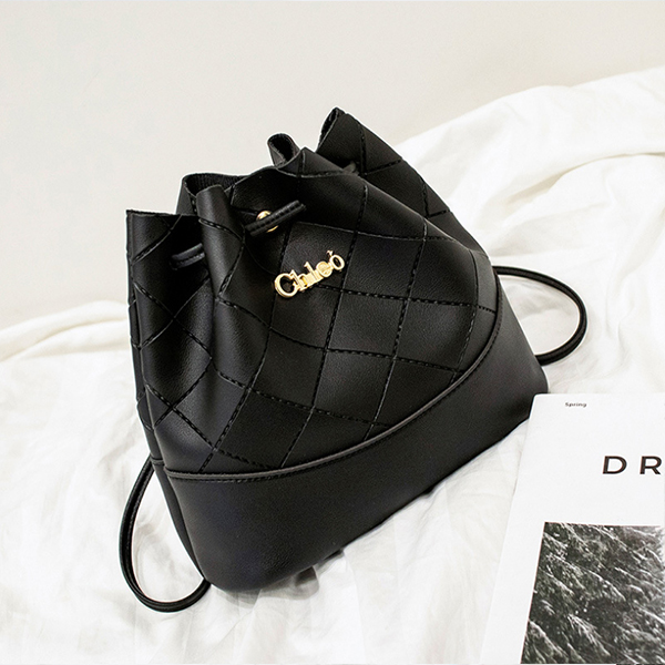 Drawstring Textured Duo Contrast Bucket Bags - Black