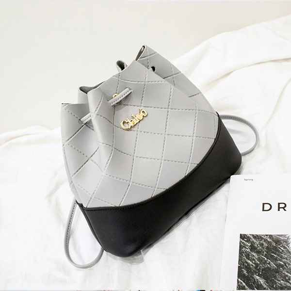 Drawstring Textured Duo Contrast Bucket Bags - Grey