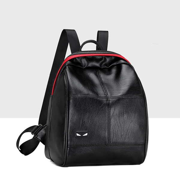 Leather Textured Contrast Mini Backpacks - Black