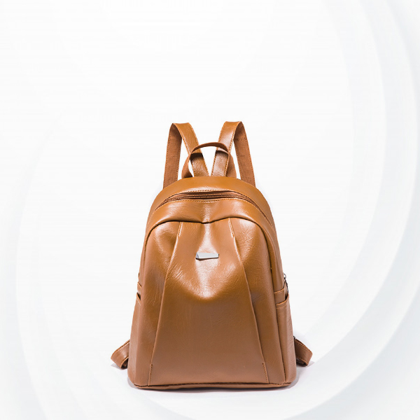 Zipper Closure Shiny Leather Unisex Backpacks - Brown
