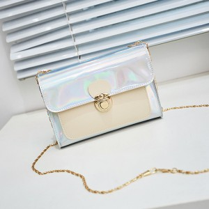 Holographic Press Lock Messenger Bags - White