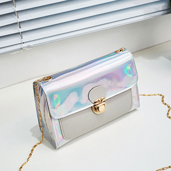 Holographic Press Lock Messenger Bags - Pink