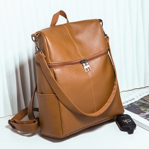 Side Zipper Shiny Leather Unisex Backpacks - Brown
