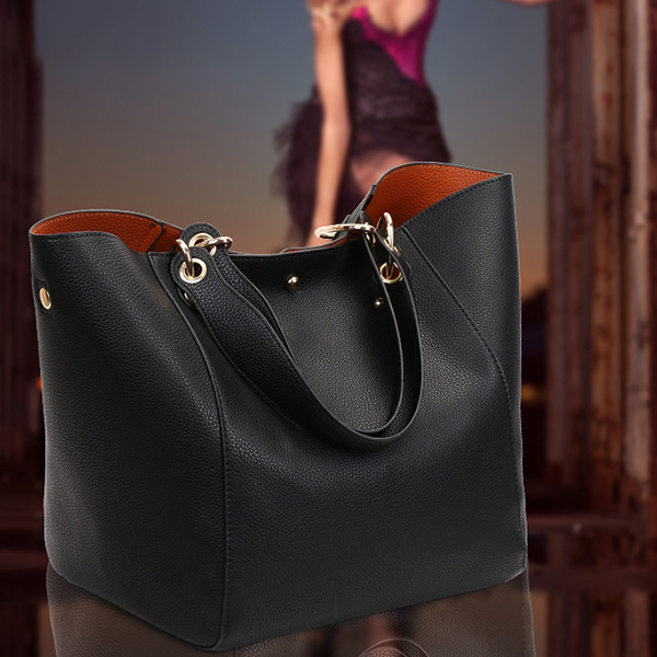 Retro Black PU Leather Quality Shoulder Bag