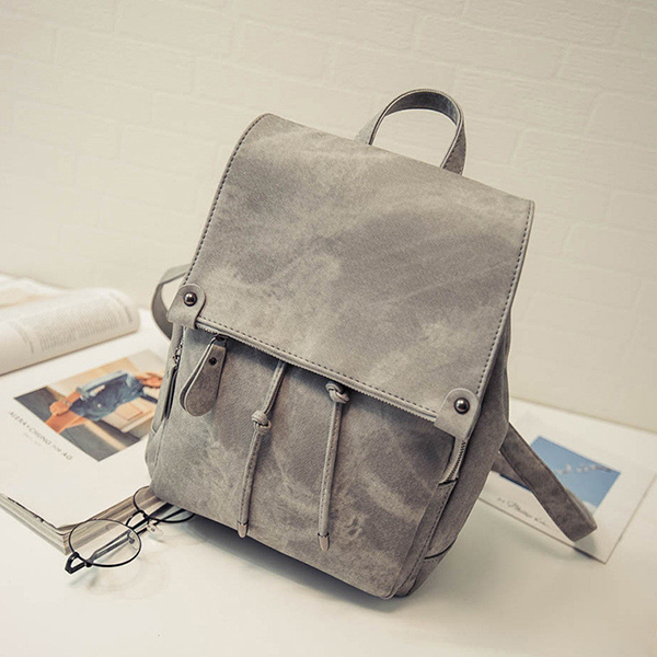 Smoke Texture Casual Synthetic Leather Backpacks - Grey