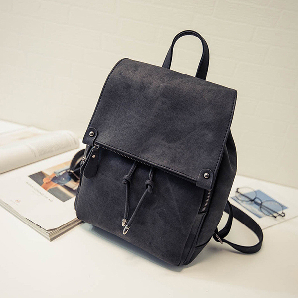 Smoke Texture Casual Synthetic Leather Backpacks - Black