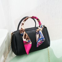 Silk Printed Ribbon Chain Strap Shoulder Bags - Black