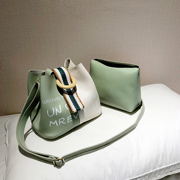 Buckle Special Casual Two Piece Bucket Bags - Green