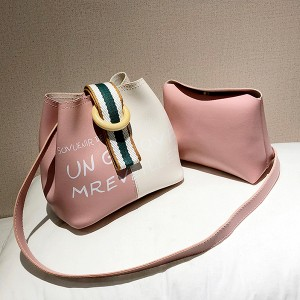 Buckle Special Casual Two Piece Bucket Bags - Pink