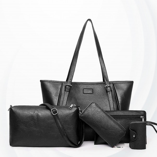 Luxurious Quality Five Pieces Formal Bags Set - Black