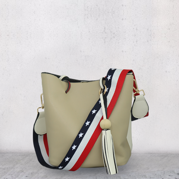 Duo Color White Contrast Khaki Rope Bag