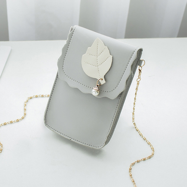 Vertical Chain Strap Leather Texture Shoulder Bags - Grey