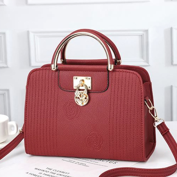 Textured Rose Pattern Shoulder Bags - Burgundy