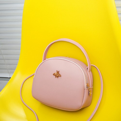 Bug Patched Round Shaped Shoulder Bags - Pink