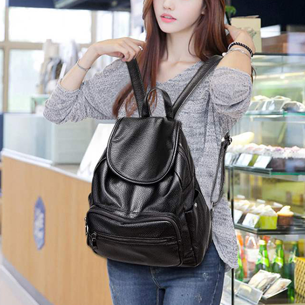 Shiny Synthetic Leather Zipper Backpack - Black