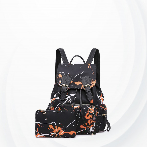 Two Pieces Scratch Pattern Buckle Backpacks - Orange