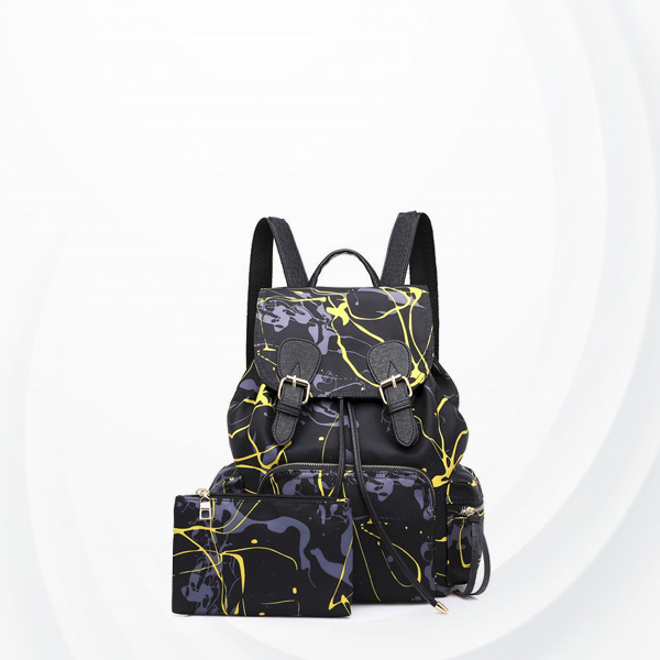 Two Pieces Scratch Pattern Buckle Backpacks - Black